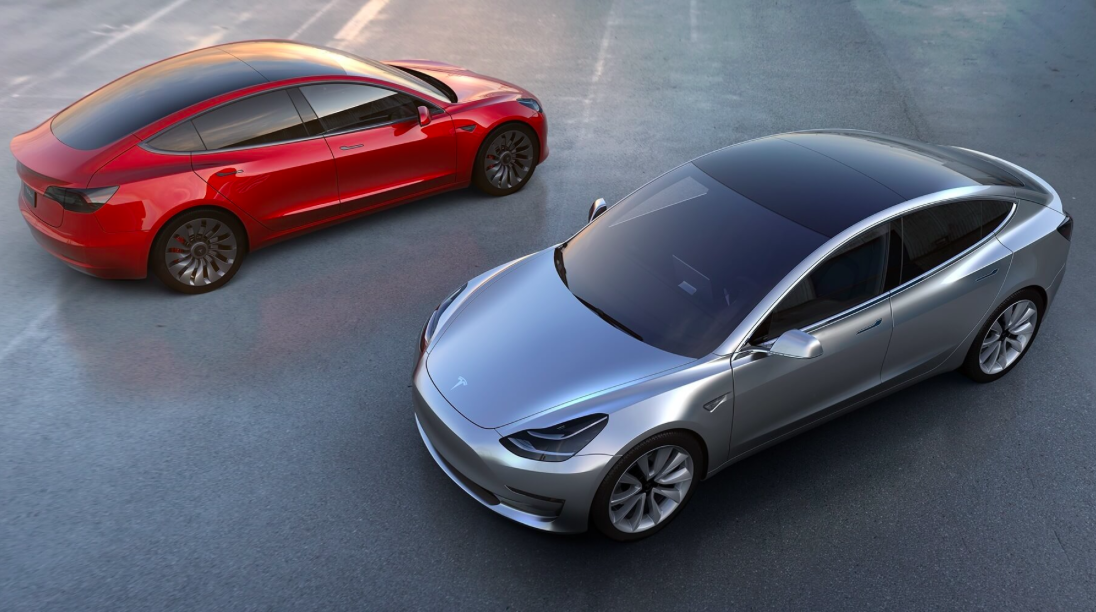 Tesla Model 3, rouge et gris
