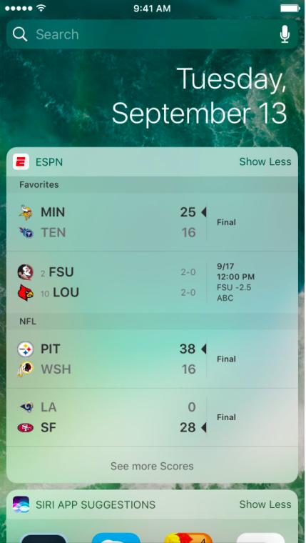 Widget iOS 10 ESPN