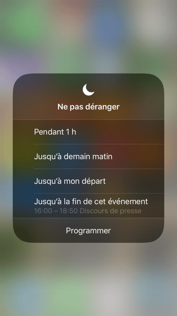 Ne pas déranger plus fin iOS 12