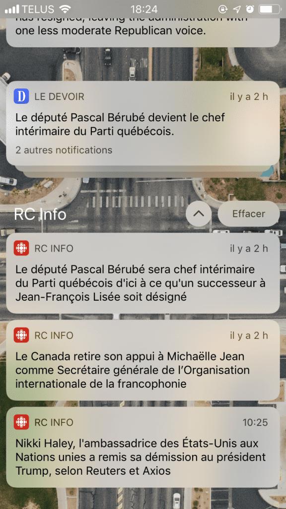 Notifications déployés iOS 12