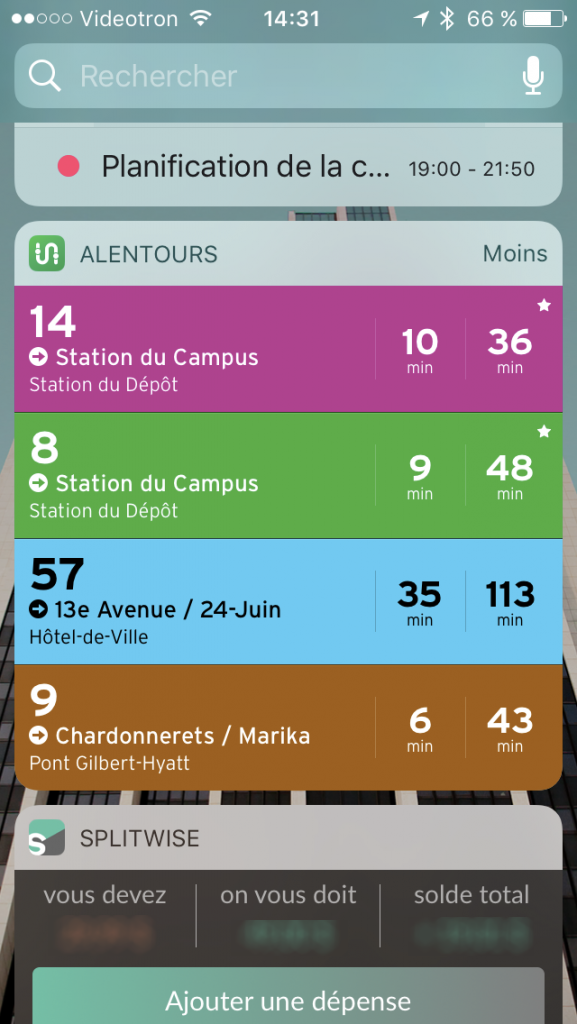 Transit Widget iOS 10
