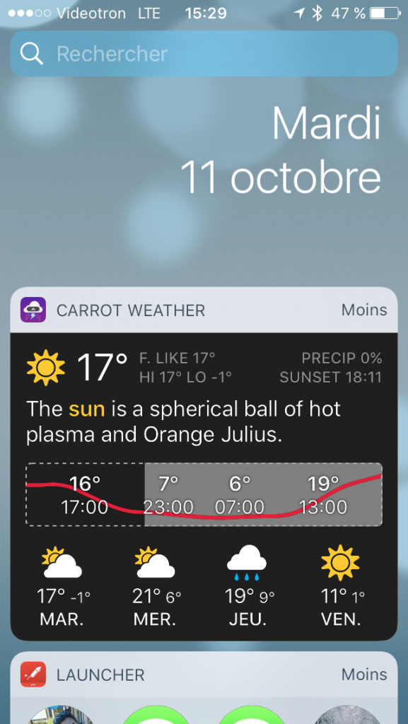 Widget iOS 10 Carrot Weather