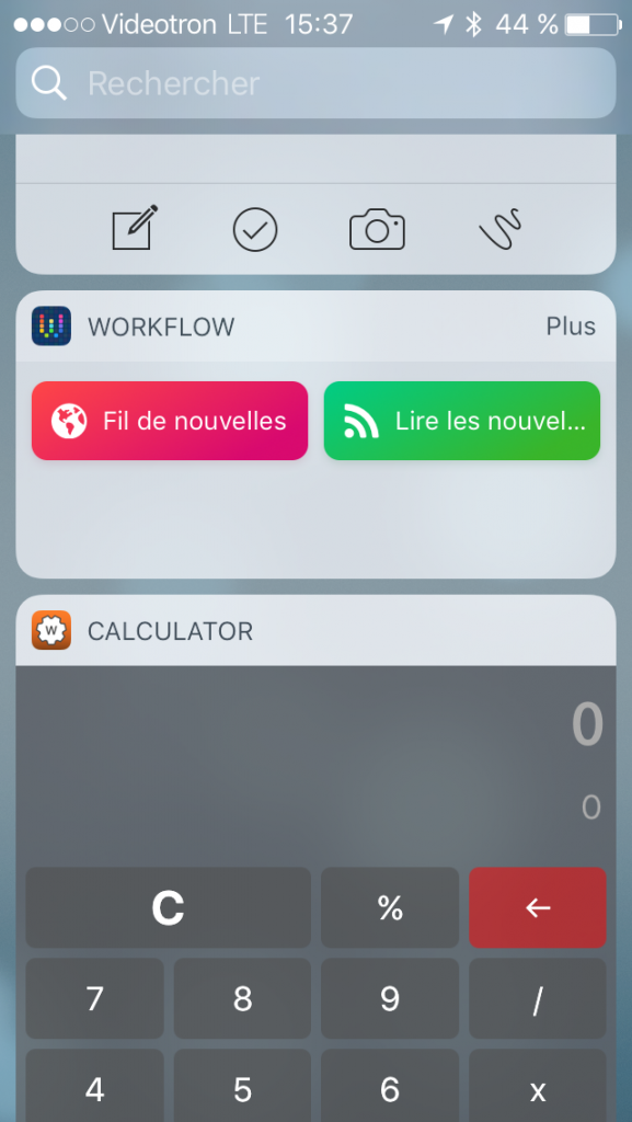 Widget iOS 10 Workflow