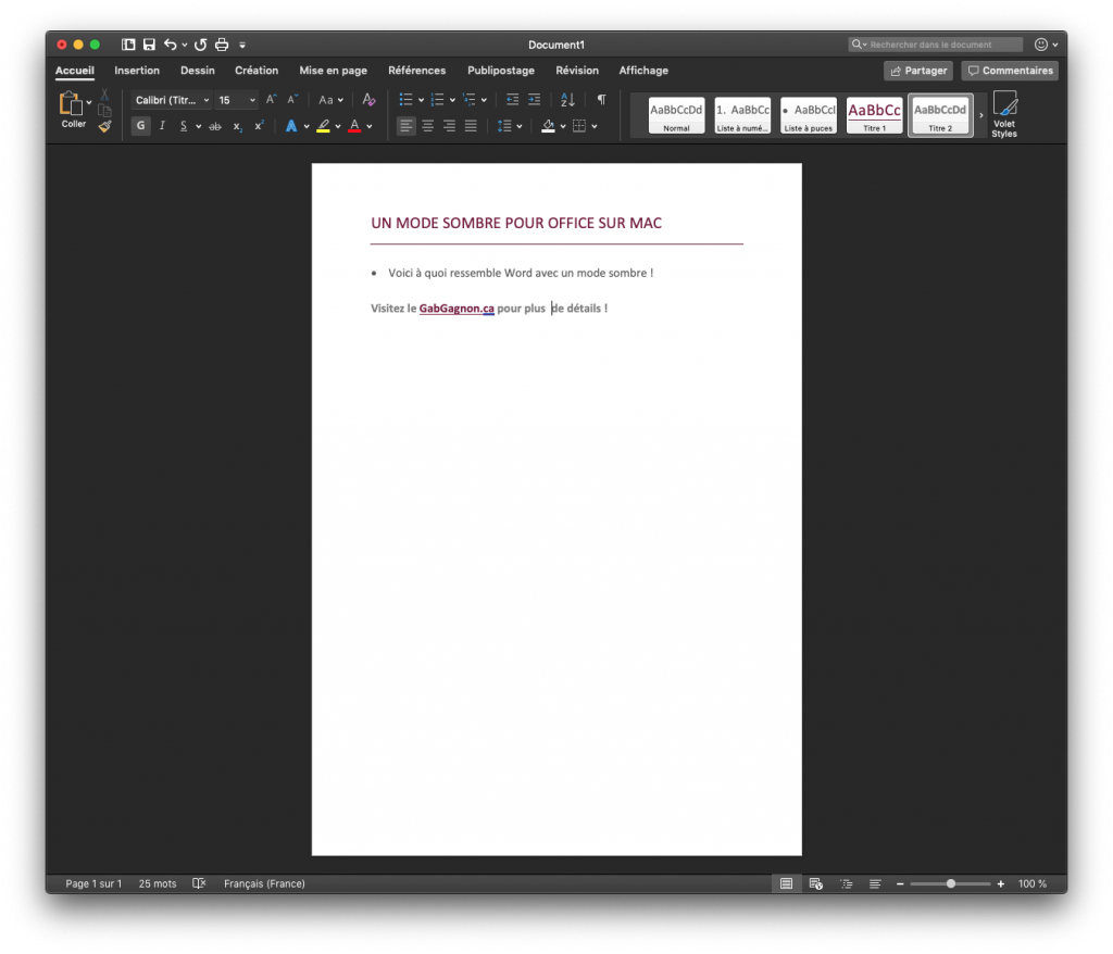 Mode Sombre Word office 365 mac