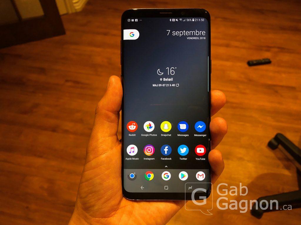 L'écran d'accueil du S9+